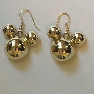 Disney Goldtone Mickey Mouse Head Earrings